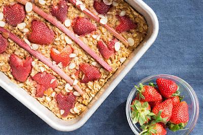 Strawberry rhubarb baked oatmeal.
