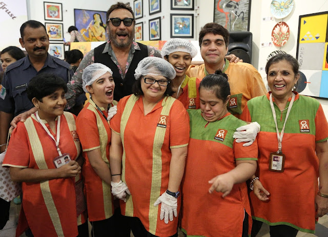 Jackie Shroff with specially abled adults of Om Creations during Art Trisomy 21, a 2-day art exhibition