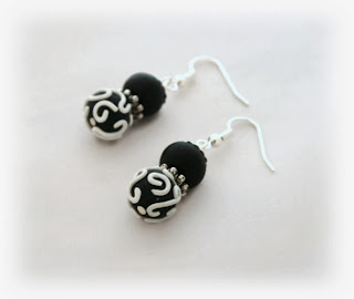 Monochrome Filigree earrings handmade from polymer clay By Lottie Of London