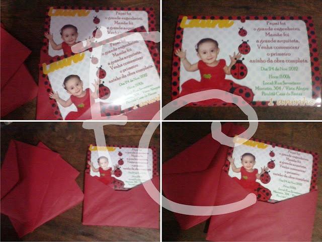 Convite Padrão 10X15 cm - Joaninha