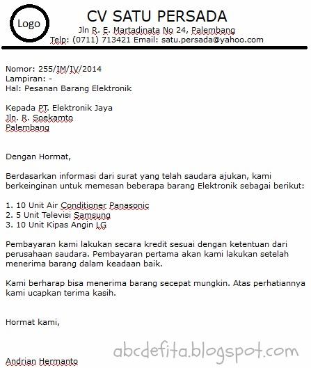 Contoh Surat Niaga Barang Elektronik Surat W