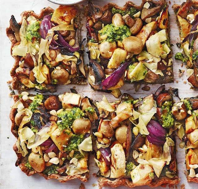 Mushroom Nut Roast Tart With Pesto Recipe
