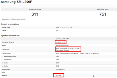 Samsung Galaxy J2 is run through GFXBench confirming its released date.