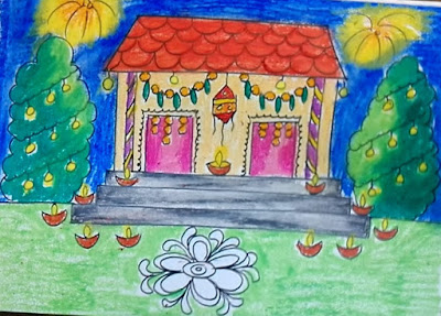 Diwali Drawing Competition Pictures Scenes Paintings Sketch