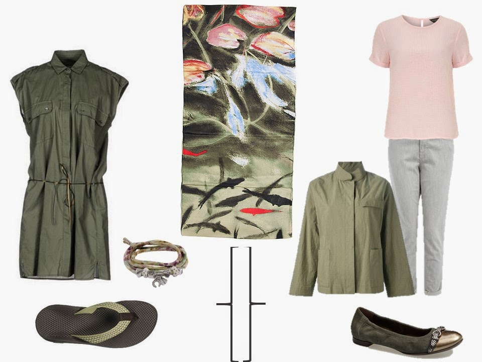 olive sleeveless shirtdress; olive jacket, peach top and white jeans