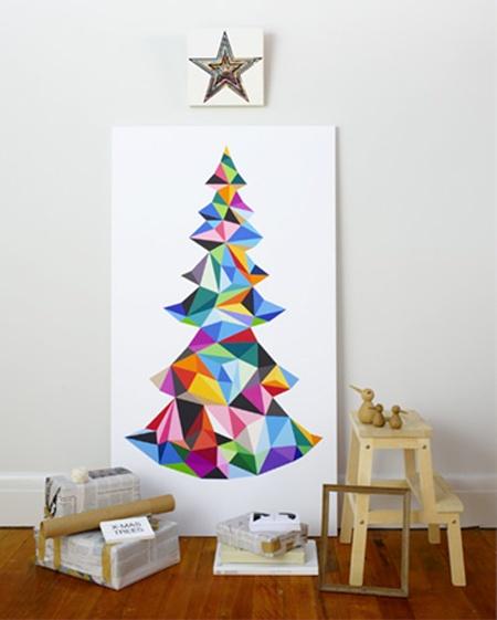 Árvores de natal criativa de parede feita em tela e pintura