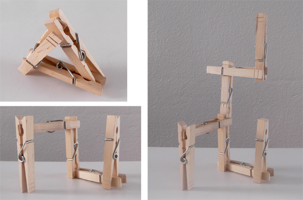 clothes pins, crafts, architecture, kids, 3d art, 3d forms, structures,