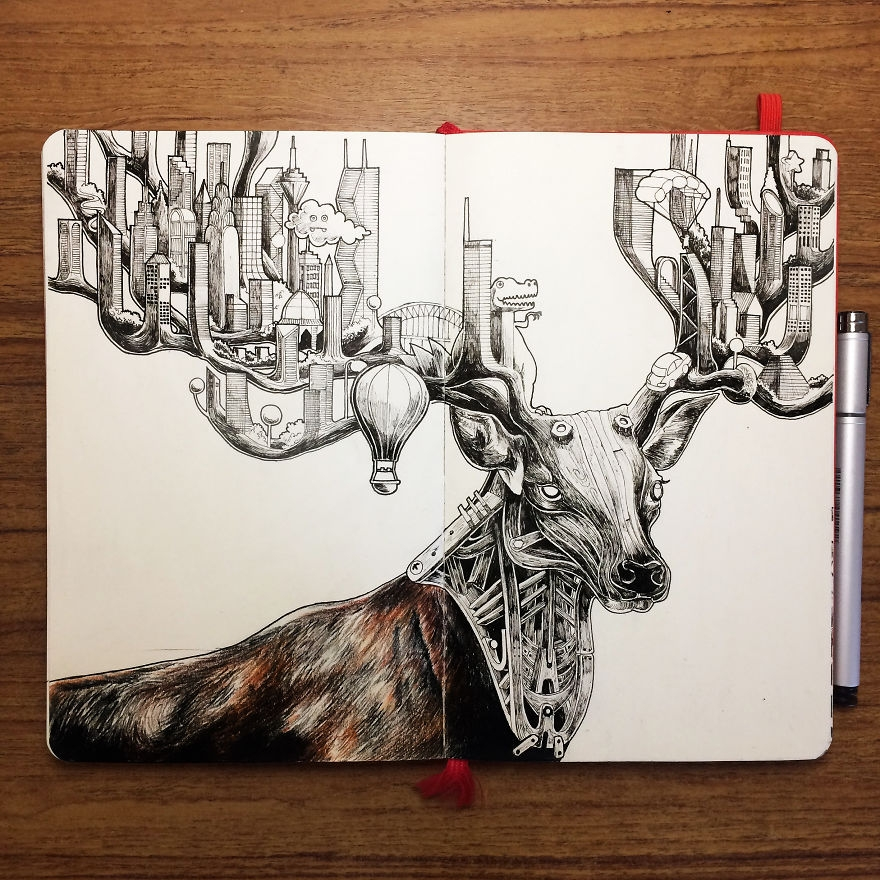 01-Deer-Skyscraper-Wan-Izat-Architecture-meets-Surrealism-and-Animals-in-Sketch-drawings-www-designstack-co