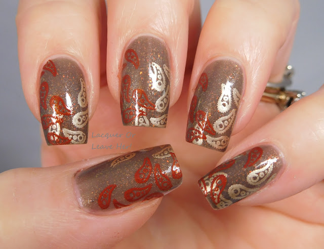 Messy Mansion MM48XL over The Lady Varnishes Depressed Robot, stamped with Soft Gold and Gingerbread