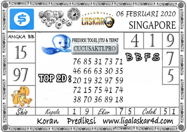 Prediksi Togel SINGAPORE LASKAR4D 06 FEBRUARI 2020