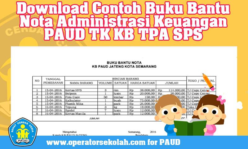 Download Contoh Buku Bantu Nota Administrasi Keuangan PAUD TK KB TPA SPS