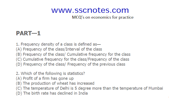 Economics MCQ and Answers for SSC CGL & RRB Exams PDF Download
