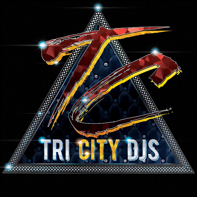 Tri City DJs Ruby Red and Gold Logo Design on Triangular Blue Quilted Technics 1200 Turntable Platter