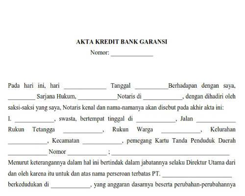 Akta Kredit Bank Garansi
