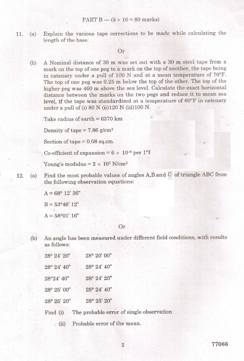 CE6404 Suyveying-II April / May 2015 Question Paper