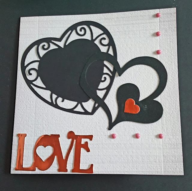 Two hearts in black 6in linen effect card