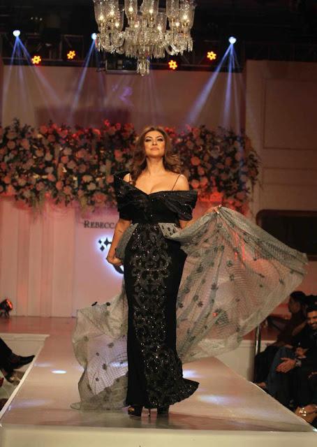 Sushmita Sen in Black Gown at Rebecca Dewan Couture Label Launch