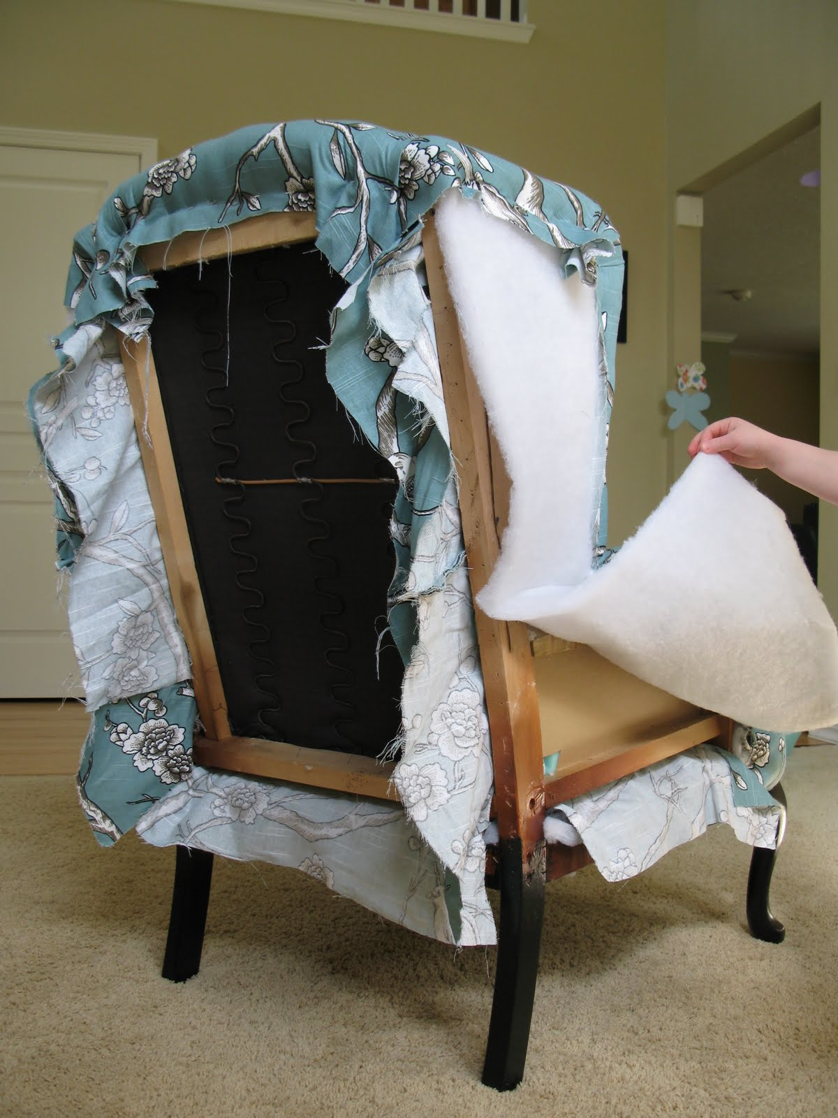 Reupholster Chair Modest Maven Vintage Blossom Wingback Chair