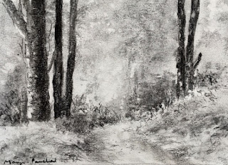 A charcoal drawing of a landscape scene from Hee Bermiok, West Sikkkim, by Manju Panchal