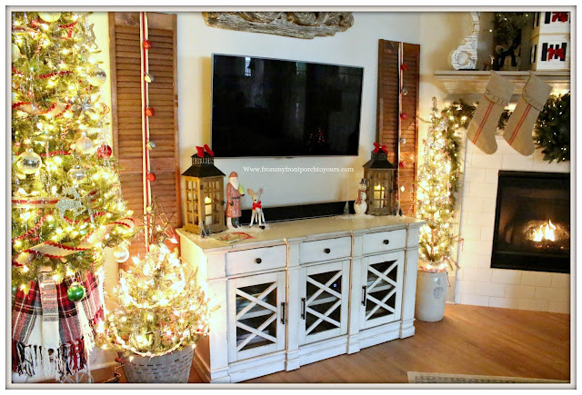 French Country Farmhouse Christmas -Living Room-Christmas Mantel-Vintage Style-From My Front Porch To Yours