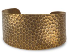 Antique brass hammered cuff