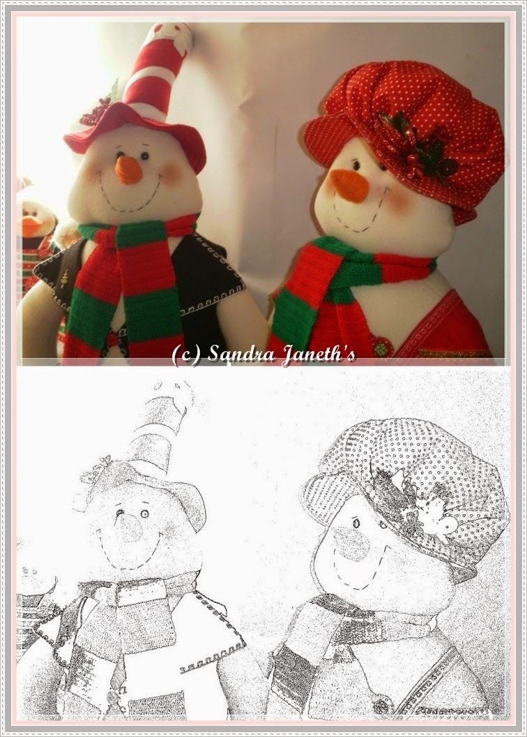 Muñecos Navideños. Pareja Muñecos de Nieve