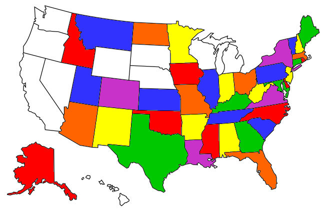 States I've Ridden In...