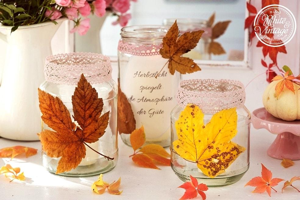 DIY- Windlichter mit Herbstblättern basteln