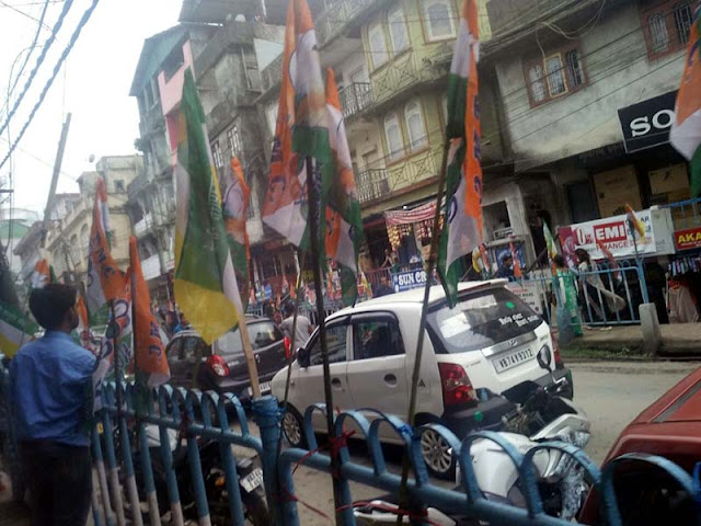 Morcha TMC flag in Kalimpong super market to welcome CM Mamata Banerjee