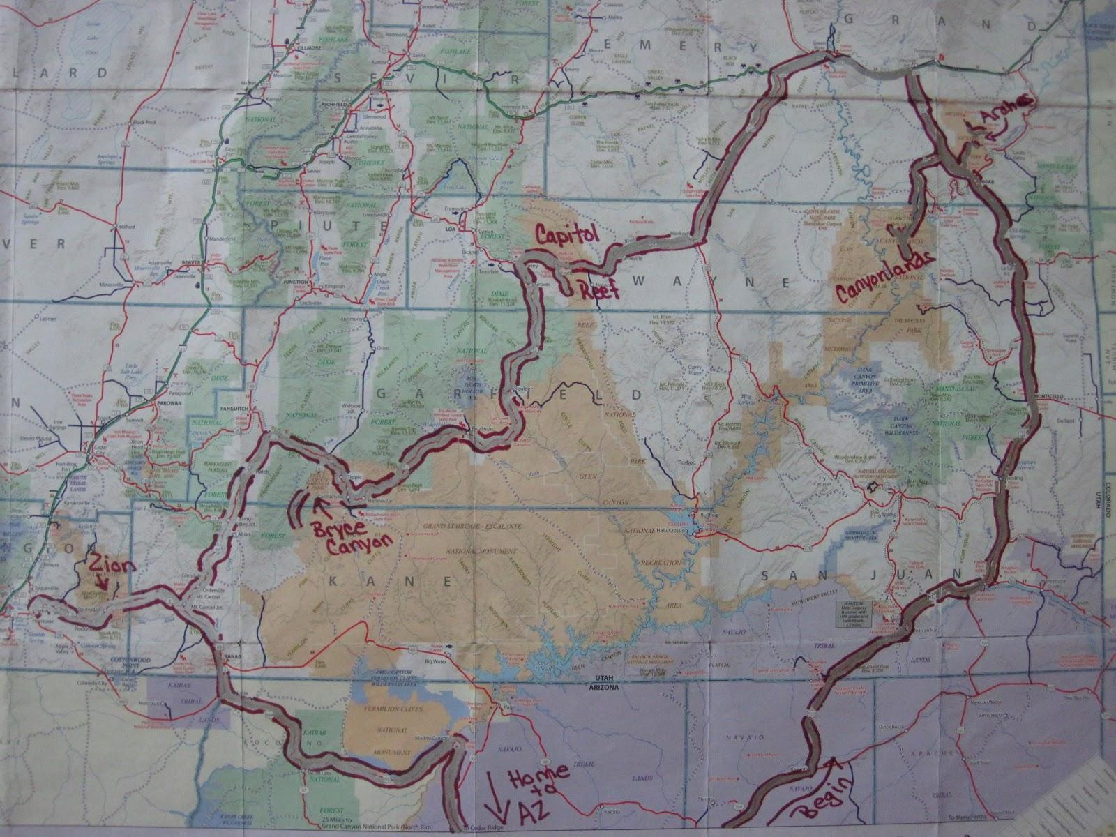 The Mighty Five Utah Map.The Mighty Five Utah