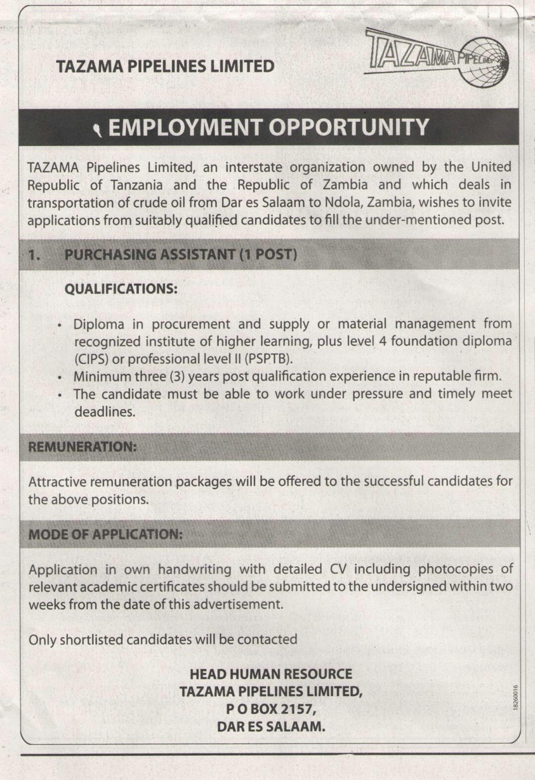 Find Your Dream Jobs Today | Tanzania: Purchasing
