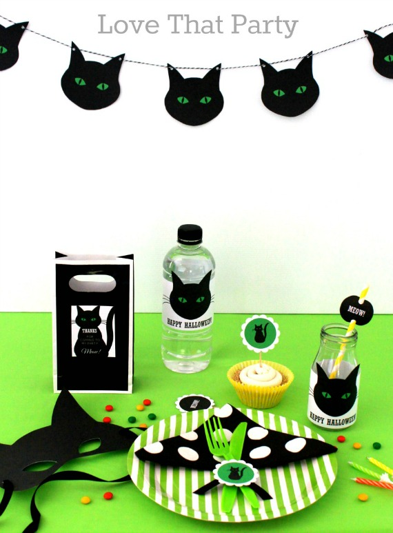 image of black and green children's balck cat halloween party paper decoration supplies