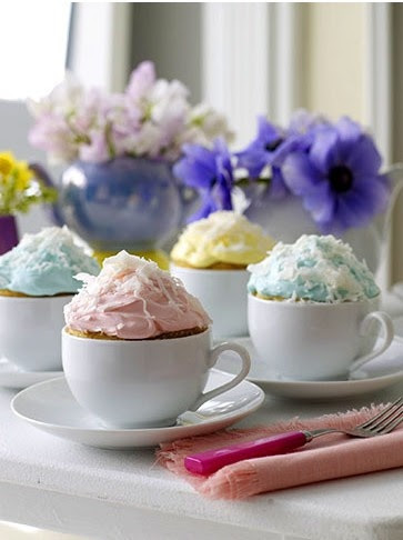 These adorable mug cakes are served in simple teacups for an adorable tea party