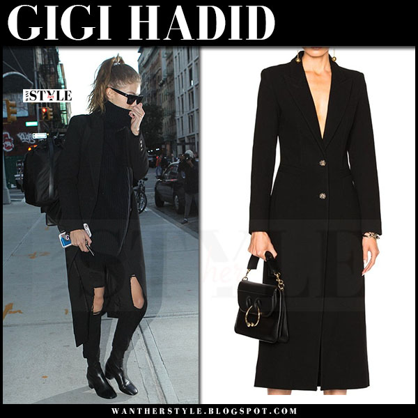 Gigi Hadid in black long smythe coat and ripped black jeans what she wore streetstyle