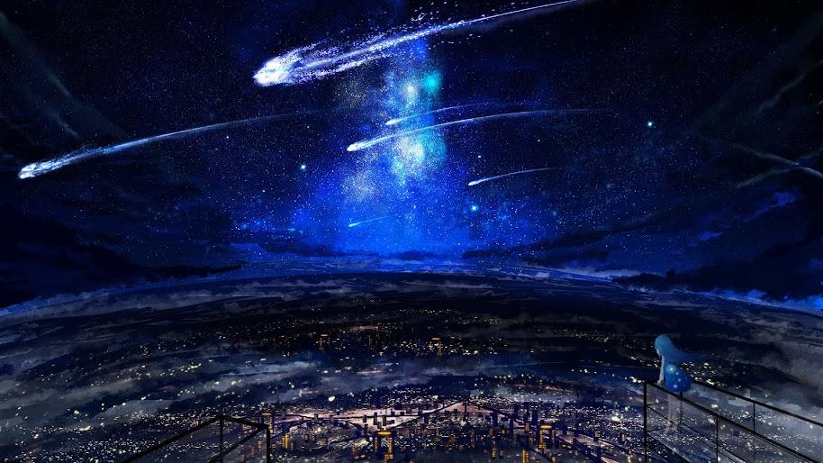 Night, Sky, Scenery, Comet, Anime, 4K, #116 Wallpaper