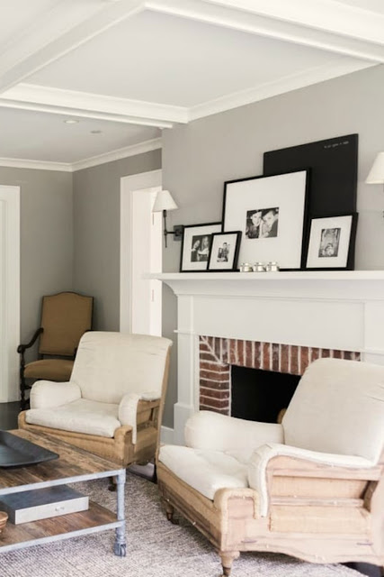 Modern farmhouse living room with deconstructed linen chairs on Hello Lovely Studio