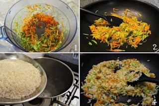 foto preparazione ricetta riso basmati con verdure julienne per bambini