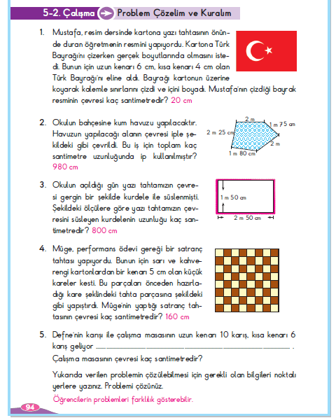 3. Sınıf Berkay Yayınları Matematik Çalışma Kitabı 94. Sayfa Cevapları 5-2 Çalışma