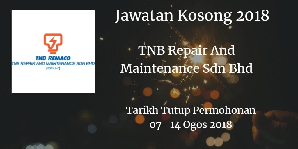 Jawatan Kosong TNB Remaco 07 - 14 Ogos 2018