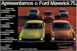 propaganda 1974 - Linha Maverick 75, Ford Willys anos 70, carro antigo Ford, década de 70, anos 70, Oswaldo Hernandez, Maverick 75.