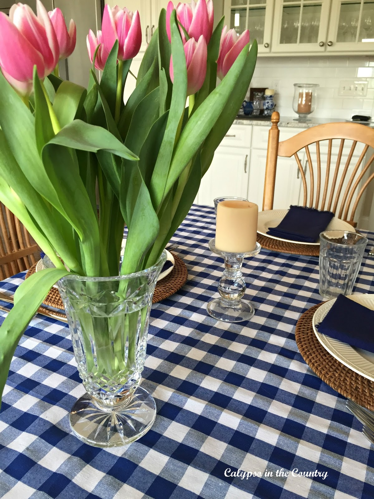 Pink tulips centerpiece - a casual table setting for Mother's Day