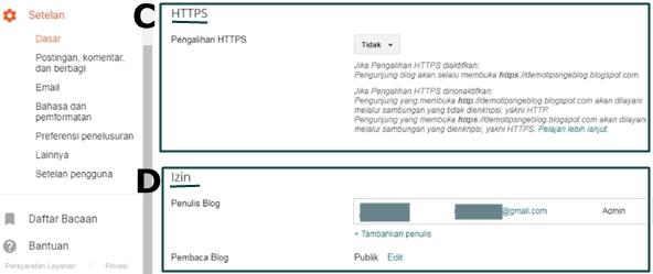 Fungsi beserta Cara Pengalihan HTTPS, Izin Penulis dan Pembaca Blog di Blogger