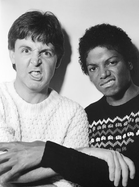 Paul McCartney and Michael Jackson, making faces for the camera in London 1983.Jingles and other stories about The American Dream. marchmatron.com