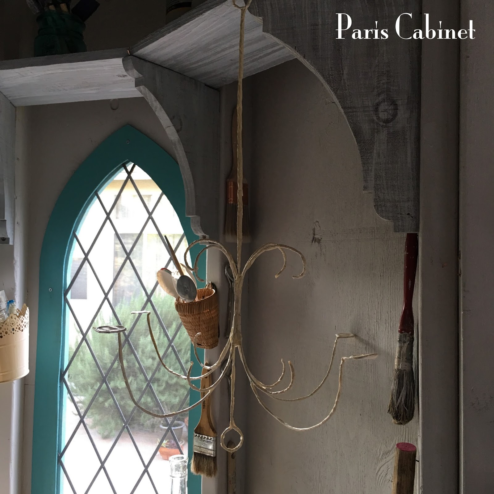Paris cabinet paper mache chandelier for castle shed then i wrinkled some white paper and tore it into strips for the paper mache exterior wood glue will hold up better during the rainy weather mozeypictures Choice Image