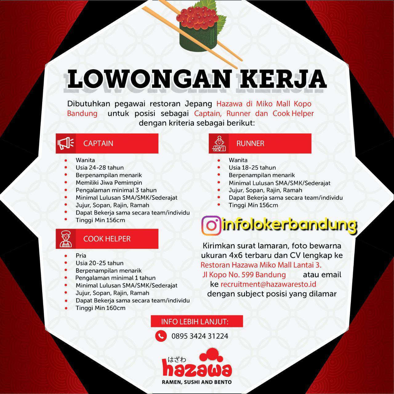 Lowongan Kerja Hazawa Restoran Jepang Bandung November 2017