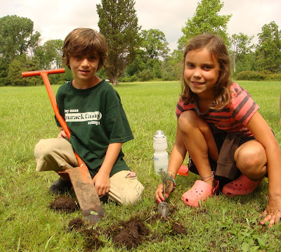 Jewish children plant trees at Tamarack Camps in Ortonville, Michigan