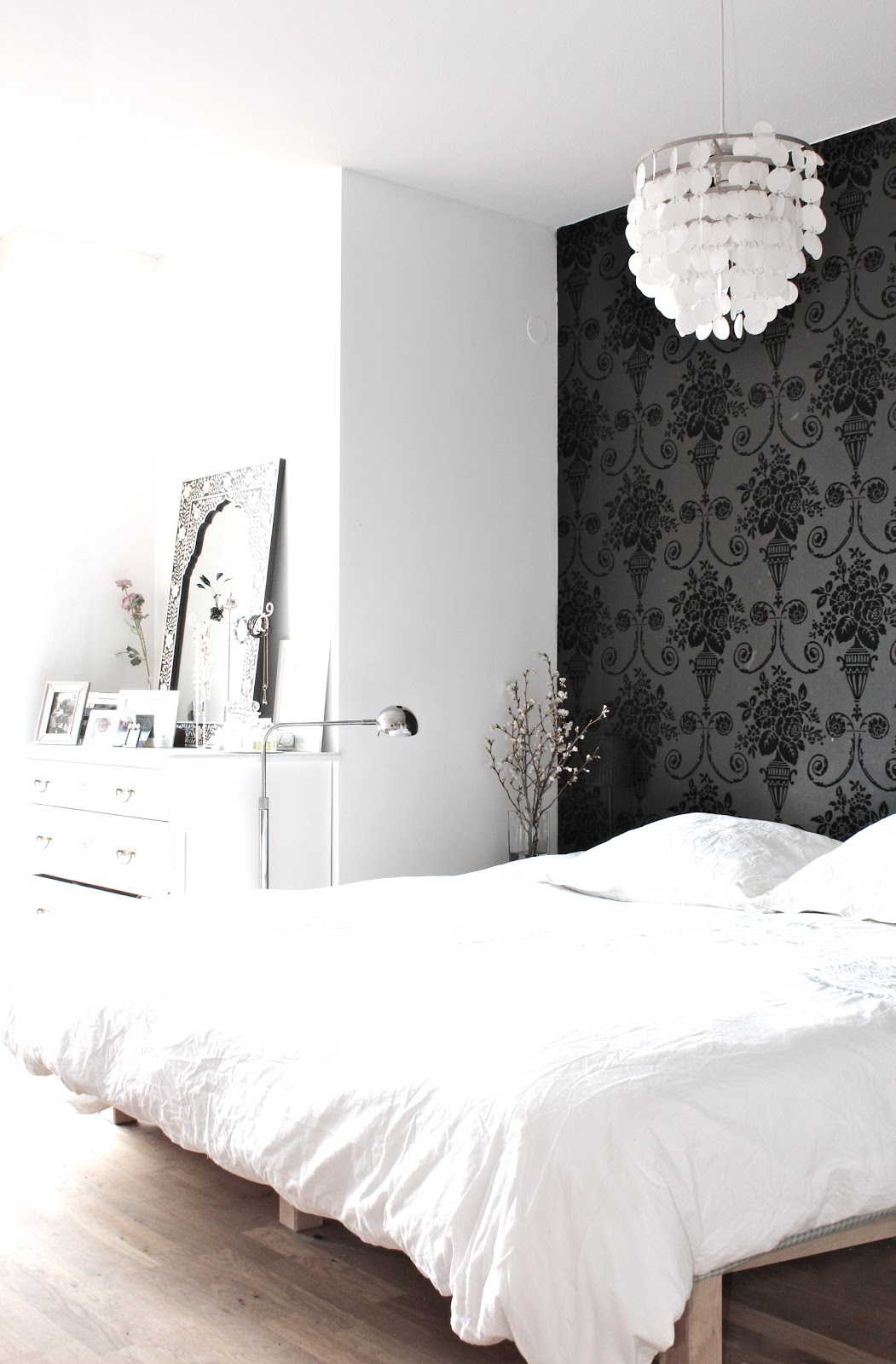 Wallpaper Accent Wall Bedroom My Scandinavian Home My Black And White Bedroom
