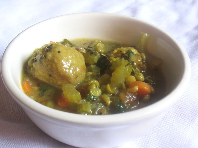 Indian-Style Split Pea Soup with Cornmeal Dumplings