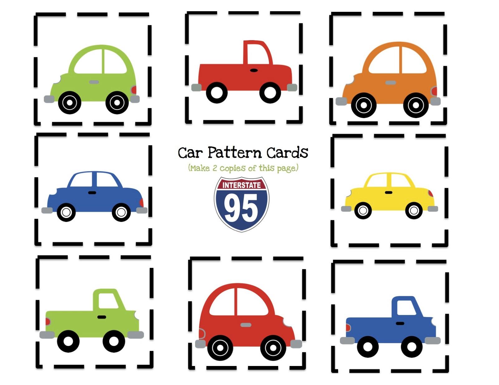 Car Number Cards Preschool Printables