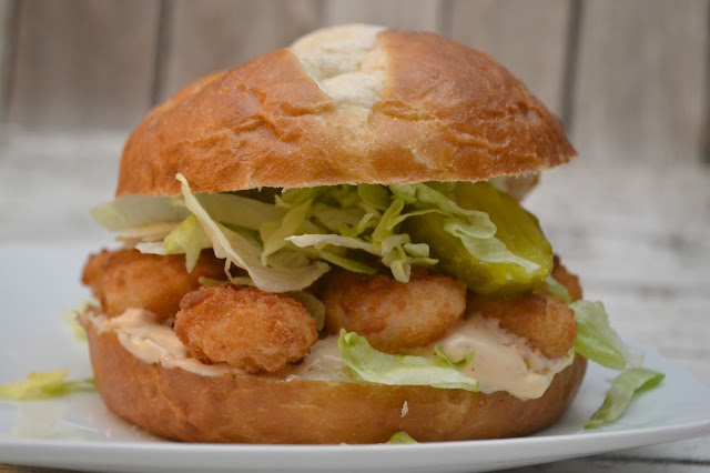 Popcorn Shrimp Pretzel Bun Sandwich Recipe, fish sandwiches, easy dinner ideas, shrimp sandwich, remoulade recipe, easy remoulade recipe, spicy remoulade recipe, fish dipping sauce, sauce for fried shrimp, shrimp, SeaPack Seafood